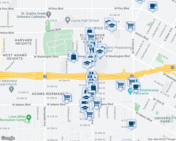 map of restaurants, bars, coffee shops, grocery stores, and more near 1640 W 20th St in Los Angeles