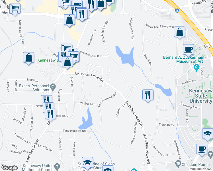 map of restaurants, bars, coffee shops, grocery stores, and more near 1135 Country Club Place in Kennesaw