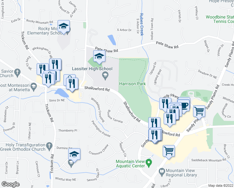 map of restaurants, bars, coffee shops, grocery stores, and more near 2624-2638 Shallowford Road Northeast in Marietta