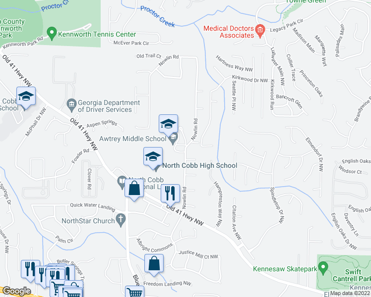 map of restaurants, bars, coffee shops, grocery stores, and more near 3577-3609 Nowlin Rd in Kennesaw