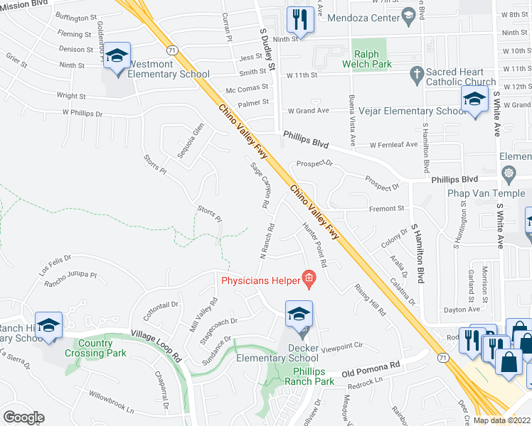 map of restaurants, bars, coffee shops, grocery stores, and more near 1-99 Sage Canyon Road in Pomona