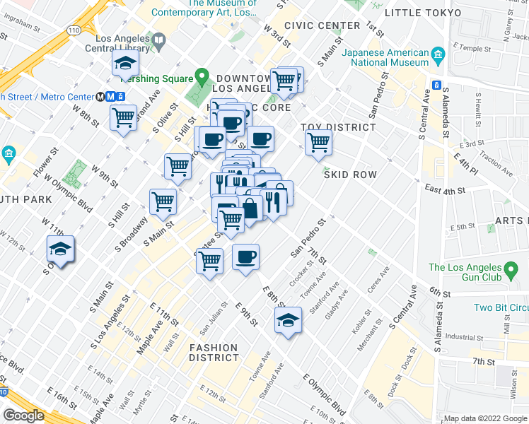 map of restaurants, bars, coffee shops, grocery stores, and more near 270-298 East 7th Street in Los Angeles