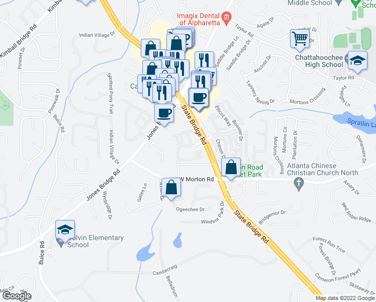 map of restaurants, bars, coffee shops, grocery stores, and more near Cameron Bridge Way in Johns Creek
