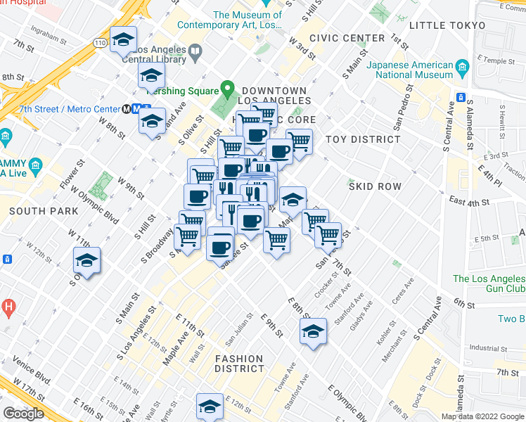 map of restaurants, bars, coffee shops, grocery stores, and more near 746 South Los Angeles Street in Los Angeles