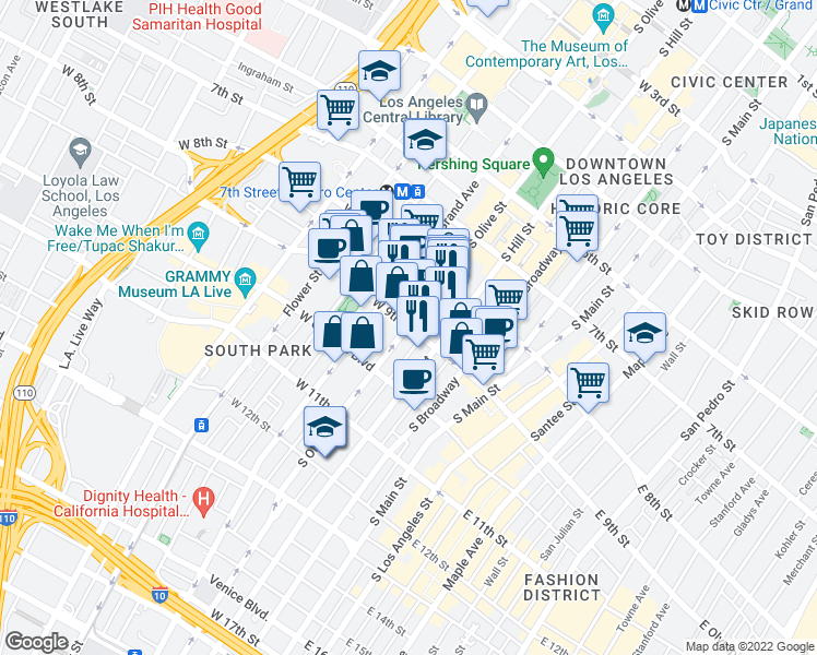 map of restaurants, bars, coffee shops, grocery stores, and more near in Los Angeles