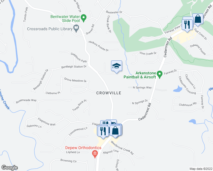map of restaurants, bars, coffee shops, grocery stores, and more near 414 Harmony Grove Church Road in Acworth