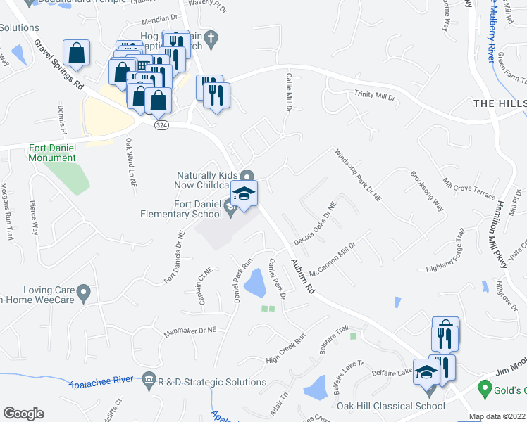 map of restaurants, bars, coffee shops, grocery stores, and more near 1732 Laurel Song Trail in Dacula
