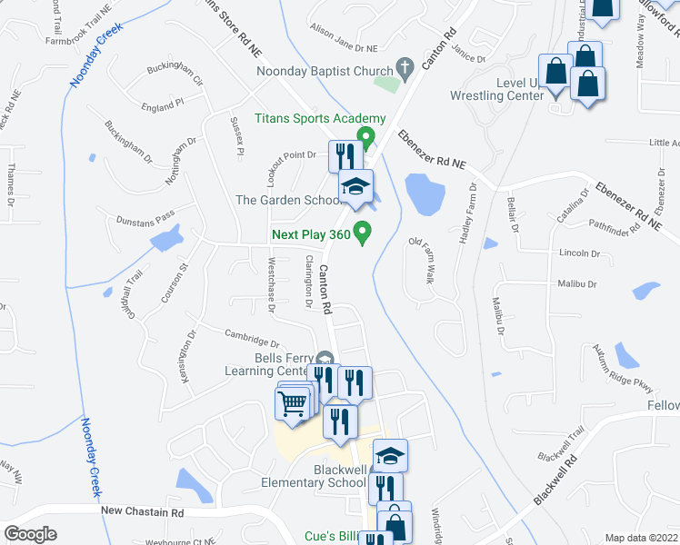 map of restaurants, bars, coffee shops, grocery stores, and more near 3852-3870 Canton Road in Marietta