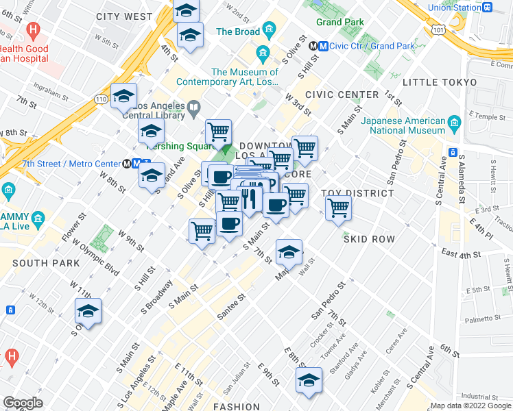 map of restaurants, bars, coffee shops, grocery stores, and more near West 6th Street & South Spring Street in Los Angeles