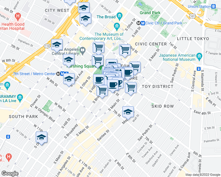 map of restaurants, bars, coffee shops, grocery stores, and more near 215 West 6th Street in Los Angeles