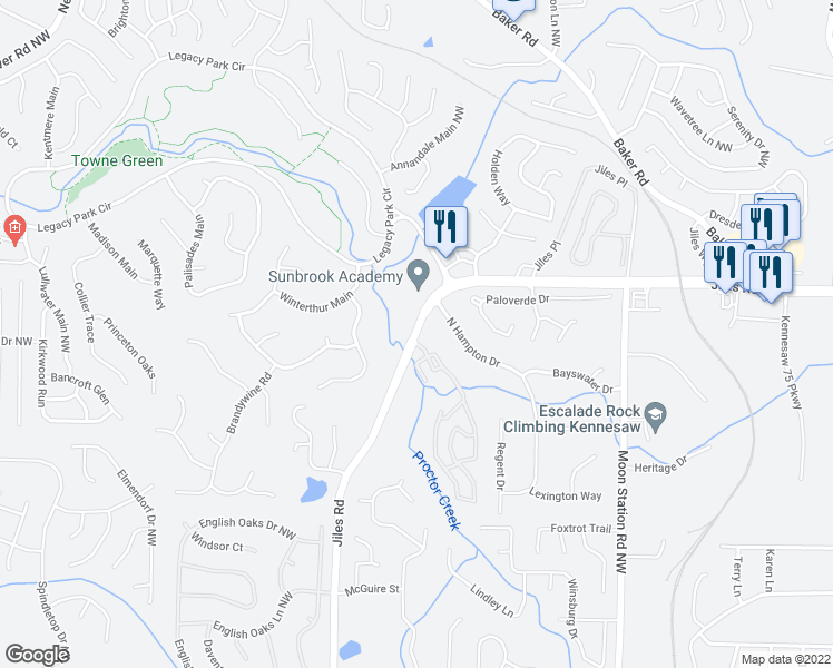 map of restaurants, bars, coffee shops, grocery stores, and more near 3840 Jiles Rd NW in Kennesaw