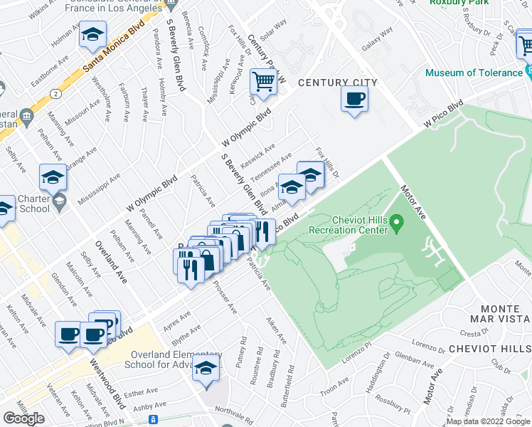 map of restaurants, bars, coffee shops, grocery stores, and more near S Beverly Glen Blvd & Almayo Ave in Los Angeles