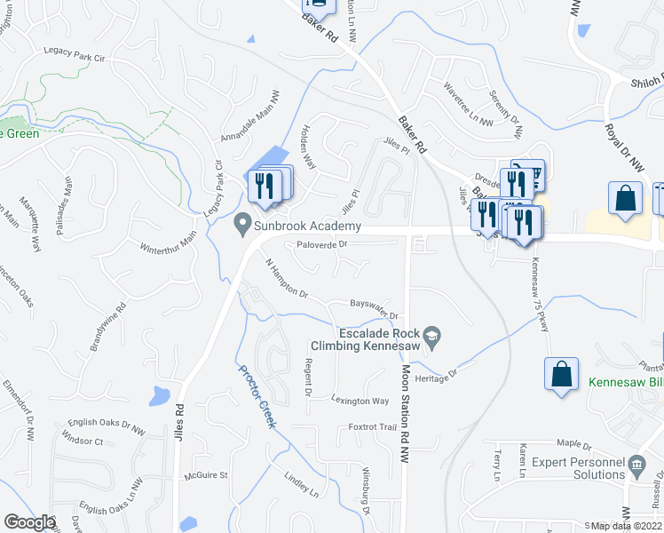 map of restaurants, bars, coffee shops, grocery stores, and more near 4008 Avalon Parkway in Kennesaw