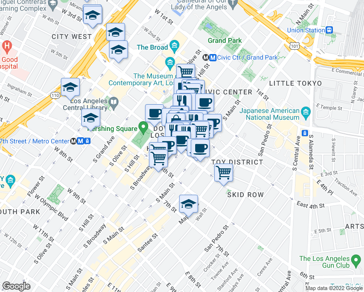 map of restaurants, bars, coffee shops, grocery stores, and more near 453 South Spring Street in Los Angeles