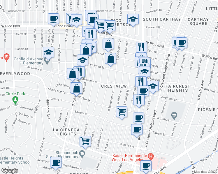 map of restaurants, bars, coffee shops, grocery stores, and more near 1706 South Bed