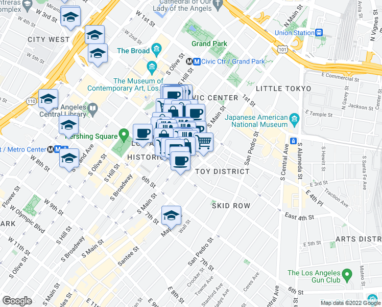 map of restaurants, bars, coffee shops, grocery stores, and more near 400 South Main Street in Los Angeles
