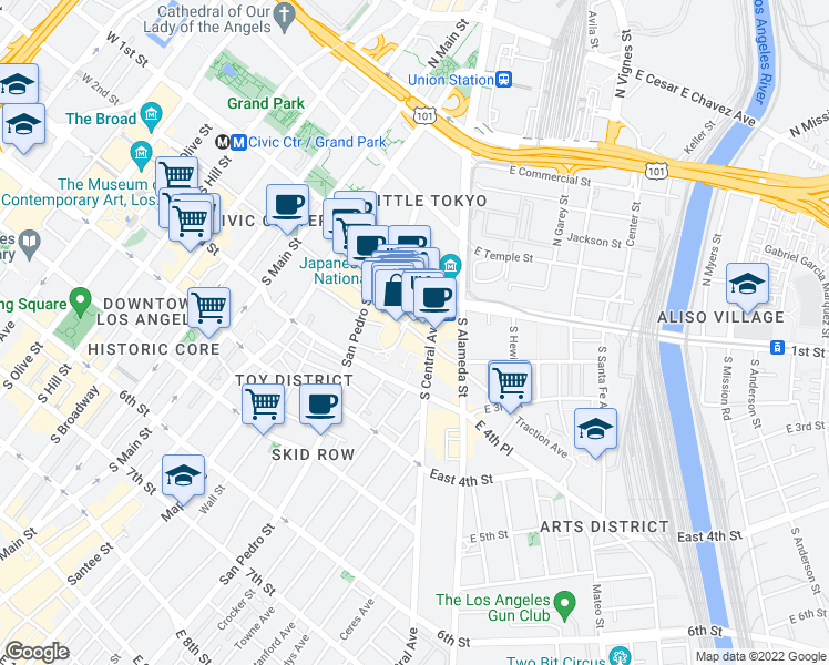 map of restaurants, bars, coffee shops, grocery stores, and more near 376-398 E 2nd St in Los Angeles