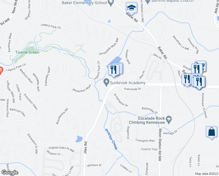 map of restaurants, bars, coffee shops, grocery stores, and more near 3871 Jiles Road Northwest in Kennesaw