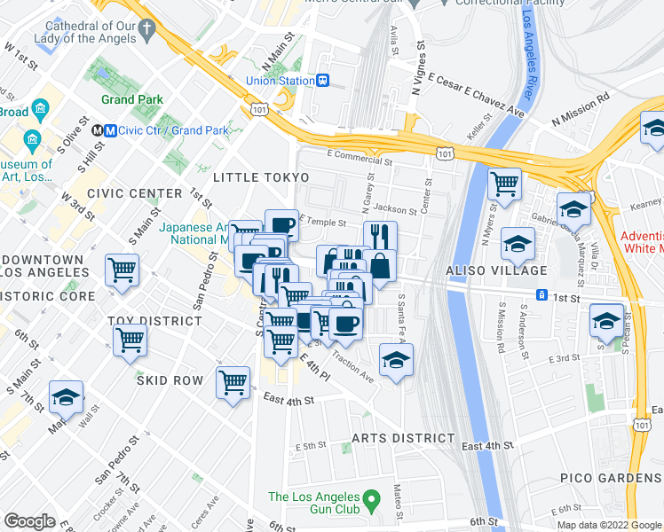 map of restaurants, bars, coffee shops, grocery stores, and more near E 1st St in Los Angeles