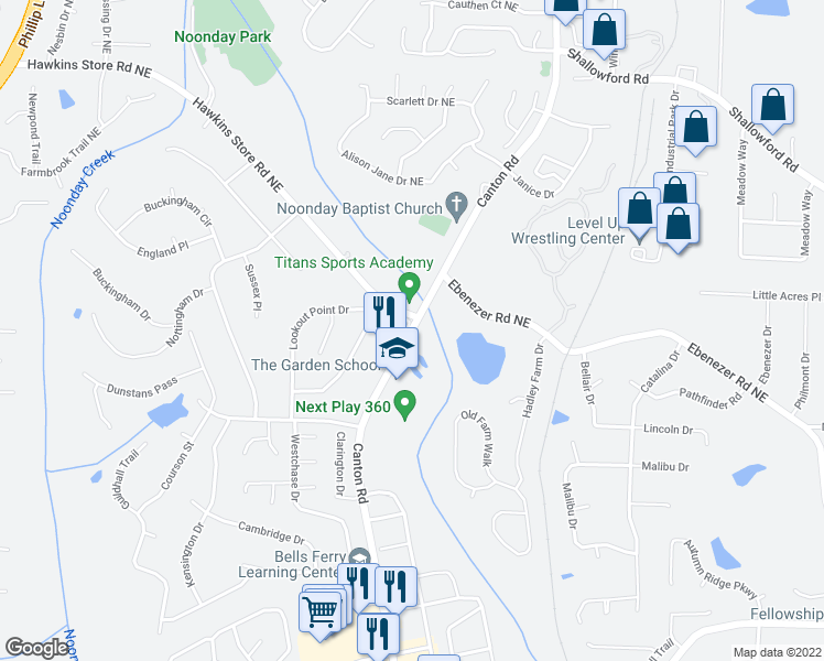 map of restaurants, bars, coffee shops, grocery stores, and more near 4017-4027 Canton Rd in Kennesaw