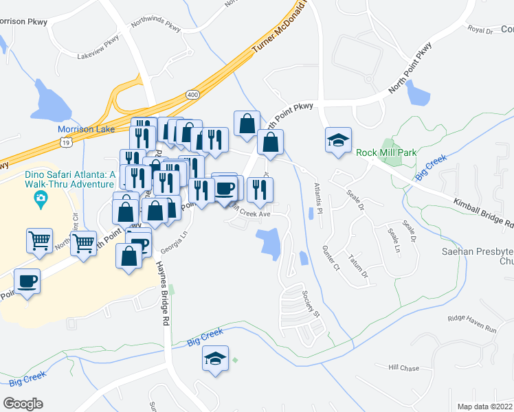 map of restaurants, bars, coffee shops, grocery stores, and more near 26000 Mill Creek Avenue in Alpharetta