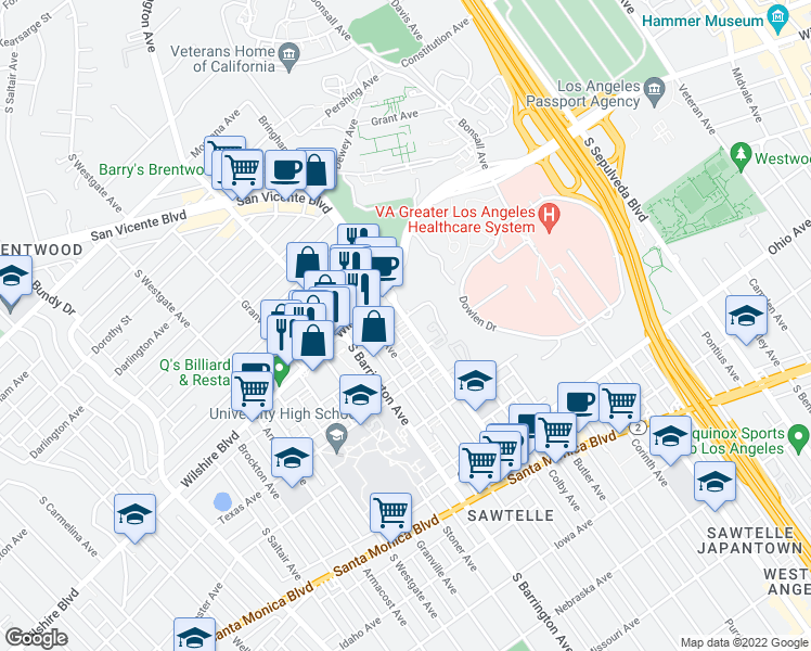 map of restaurants, bars, coffee shops, grocery stores, and more near 1243 Federal Ave in Los Angeles