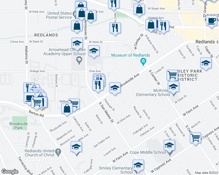 map of restaurants, bars, coffee shops, grocery stores, and more near 1076 Brookside Avenue in Redlands