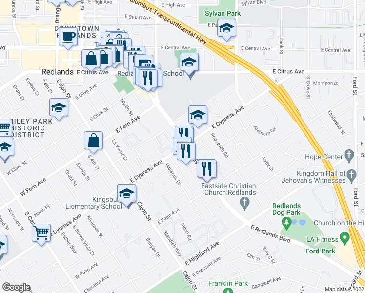map of restaurants, bars, coffee shops, grocery stores, and more near 601-649 East Redlands Boulevard in Redlands