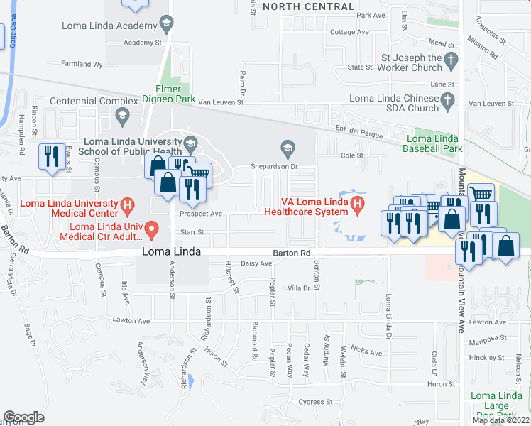 map of restaurants, bars, coffee shops, grocery stores, and more near Prospect Avenue in Loma Linda