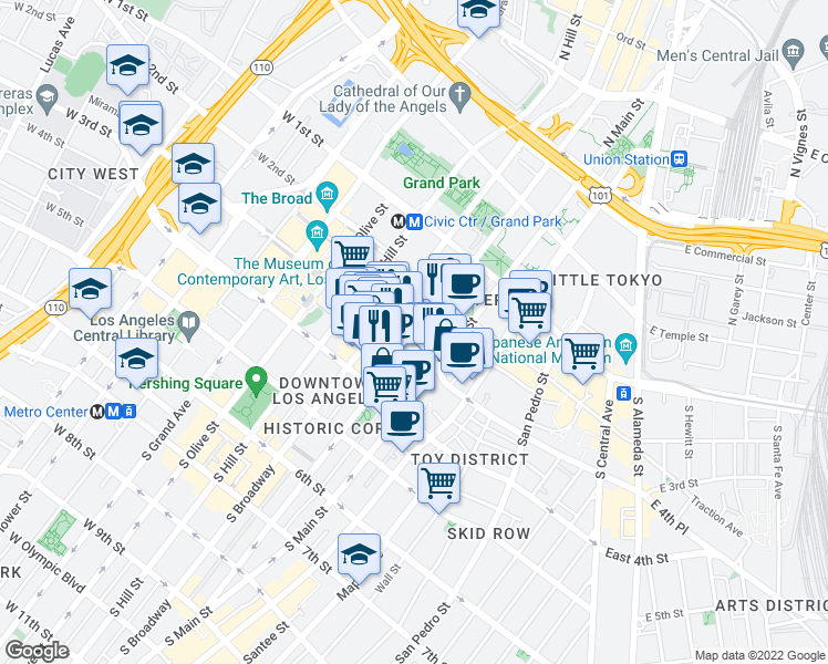 map of restaurants, bars, coffee shops, grocery stores, and more near 151-199 W 3rd St in Los Angeles