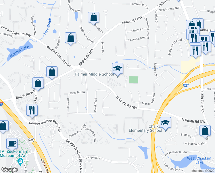 map of restaurants, bars, coffee shops, grocery stores, and more near 712-722 N Booth Rd NW in Kennesaw