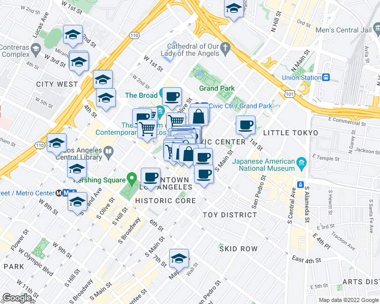 map of restaurants, bars, coffee shops, grocery stores, and more near South Broadway & West 3rd Street in Los Angeles