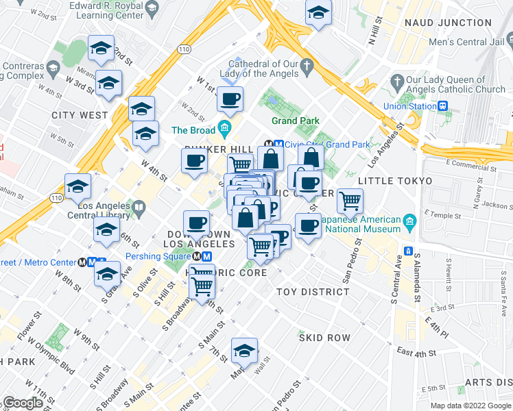 map of restaurants, bars, coffee shops, grocery stores, and more near 317 Broadway in Los Angeles