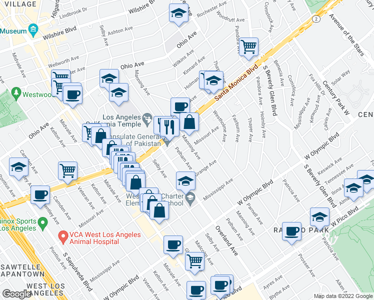 map of restaurants, bars, coffee shops, grocery stores, and more near 10676 Missouri Avenue in Los Angeles