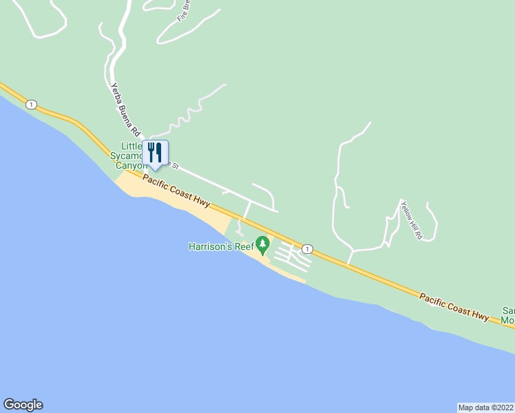 map of restaurants, bars, coffee shops, grocery stores, and more near 11824 Ellice Street in Malibu