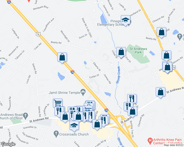 map of restaurants, bars, coffee shops, grocery stores, and more near 409 Evelyn Drive in Columbia
