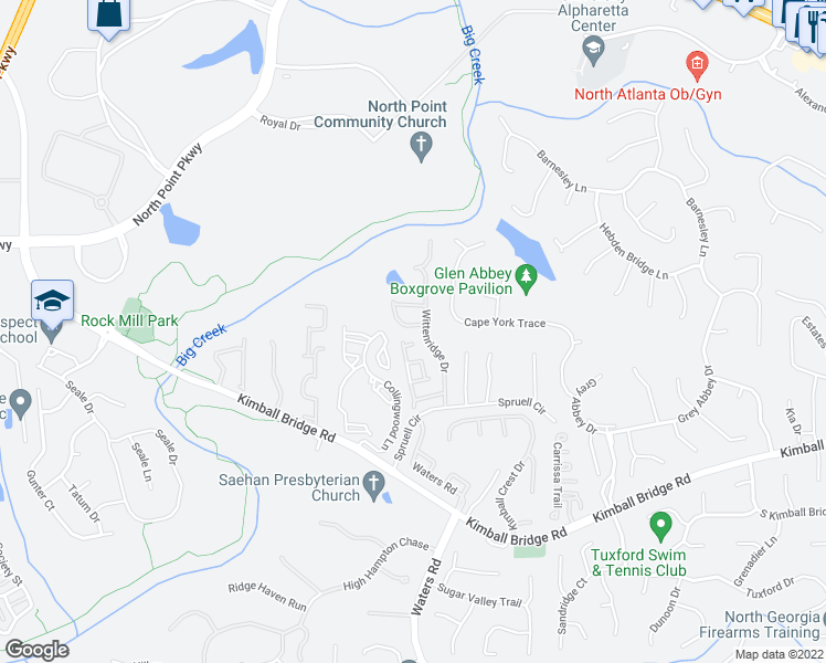 map of restaurants, bars, coffee shops, grocery stores, and more near 10995-11001 Wittenridge Drive in Alpharetta