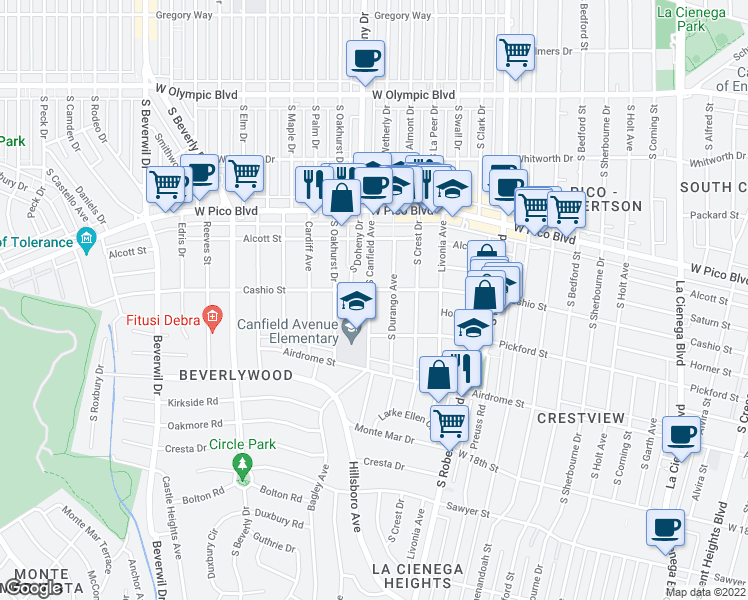 map of restaurants, bars, coffee shops, grocery stores, and more near 1516 S Canfield Ave in Los Angeles