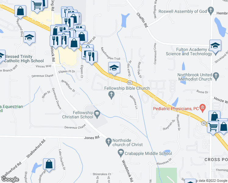 map of restaurants, bars, coffee shops, grocery stores, and more near 11260 Crosshaven Drive in Roswell