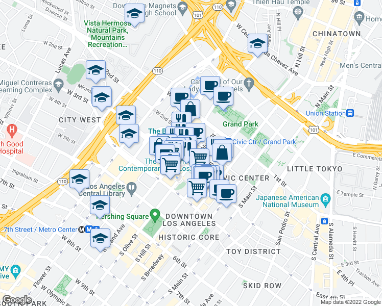 map of restaurants, bars, coffee shops, grocery stores, and more near 232-258 South Olive Street in Los Angeles