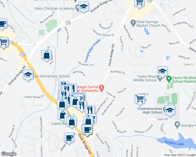 map of restaurants, bars, coffee shops, grocery stores, and more near 11160 Jones Bridge Road in Alpharetta