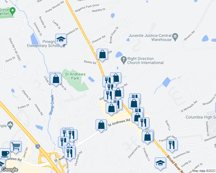 map of restaurants, bars, coffee shops, grocery stores, and more near 3400-3432 Broad River Road in Columbia