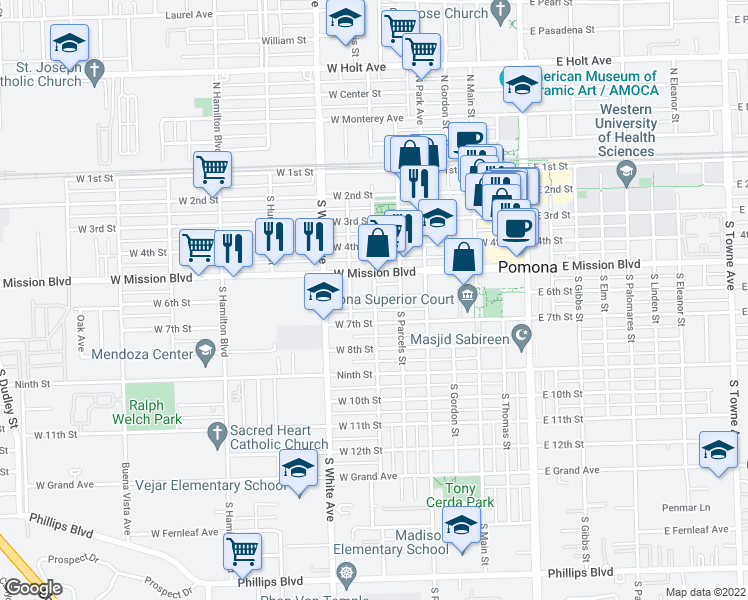map of restaurants, bars, coffee shops, grocery stores, and more near 648 W Mission Blvd in Pomona