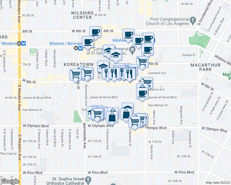 map of restaurants, bars, coffee shops, grocery stores, and more near 3049 W 9th St in Los Angeles