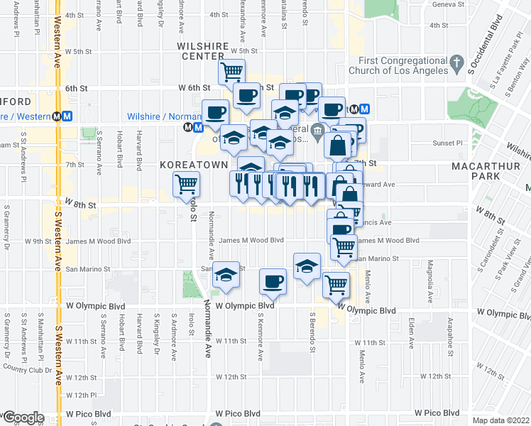 map of restaurants, bars, coffee shops, grocery stores, and more near 800 South Kenmore Avenue in Los Angeles