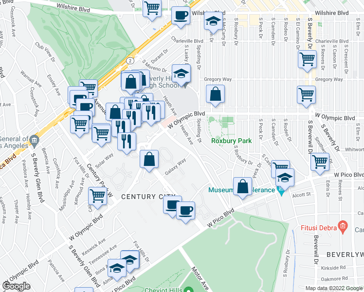map of restaurants, bars, coffee shops, grocery stores, and more near Century Park East in Los Angeles