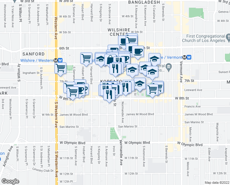 map of restaurants, bars, coffee shops, grocery stores, and more near 741 Irolo Street in Los Angeles