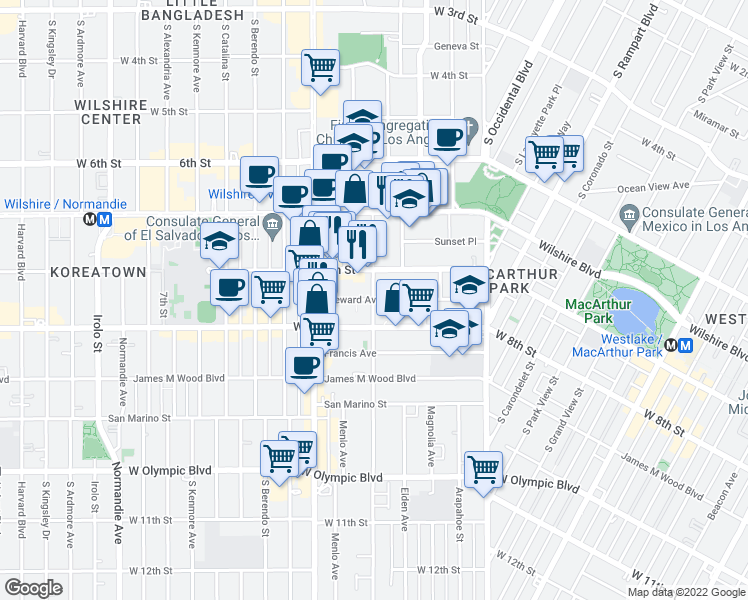 map of restaurants, bars, coffee shops, grocery stores, and more near 2959 Leeward Ave in Los Angeles