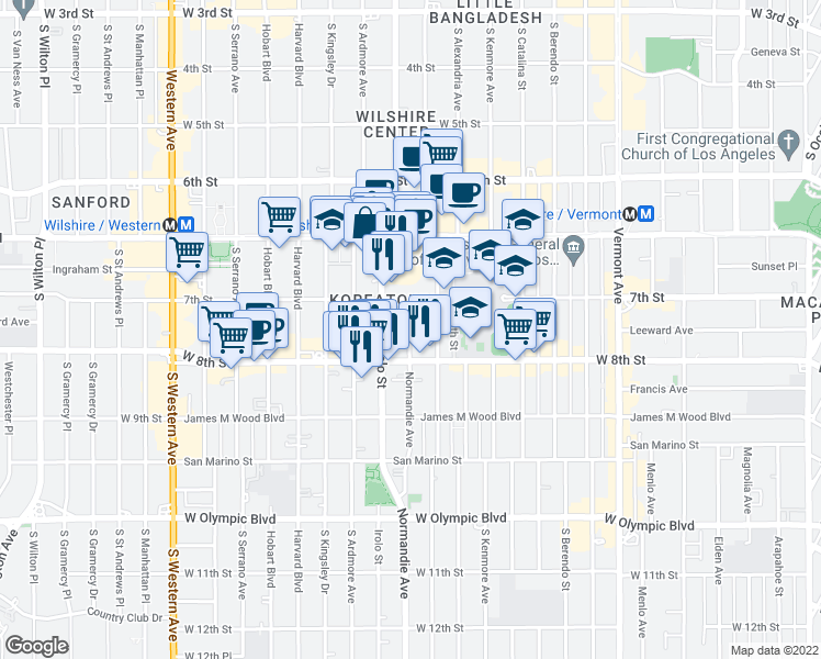 map of restaurants, bars, coffee shops, grocery stores, and more near 720 Irolo Street in Los Angeles