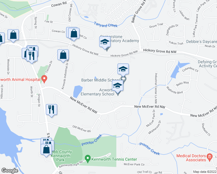 map of restaurants, bars, coffee shops, grocery stores, and more near 4222 Cantrell Rd NW in Acworth